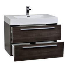 "ConceptBaths 31.5"" Wall-Mount Modern Bathroom Vanity Gray Oak"
