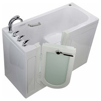 Lounger Acrylic Dual Massage and Microbubble Walk-In Bathtub with Right Outward