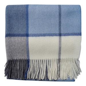 Baby Alpaca Throw Blanket, Horizon Throw, No Synthetics, Ecru Gray Light Blue