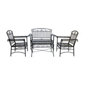 Courtyard Casual Black Steel French Quarter Outdoor 4-Piece Metal Seatee Set