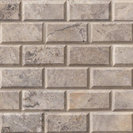 Silver Travertine 2x4 Brick Mosaic, Set to Cover 60