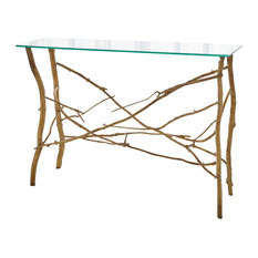 Elegant Twig Branch Brass Metal Console Table  Gold Natural Glass Top Organic