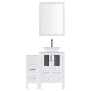 Modern Bathroom Vanity Set With Mirror and Sink, White, 48""
