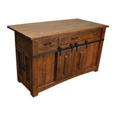 Burleson Home Furnishings - Anton Handmade Fully Built Wood Furniture Kitchen Island, Brown - Kitchen Islands and Kitchen Carts