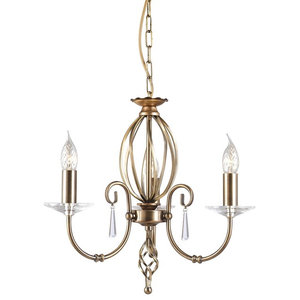 Traditional Aged Brass 3-Arm Chandelier With Glass Droplets