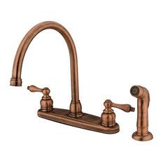 """Kingston Brass 8"""" Centerset Kitchen Faucet, Antique Copper"""
