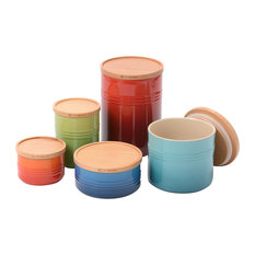 Le Creuset Mixed Color Stoneware 5 Piece Canister with Wooden Lid Set