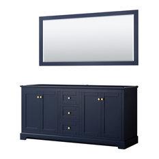 Avery 72-inch Double Vanity In Dark Blue No Top No Sinks