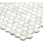 """All Marble Tiles - 12""""x12"""" Bianco Carrara 1 inch Honed Marble Honey Comb Mosaic Tile - SAMPLES ARE A SMALLER PART OF THE ORIGINAL TILE. SAMPLES ARE NOT RETURNABLE."""