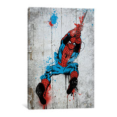 """Marvel Comic Book: Spider-Man Spray Paint"" by Marvel Comics, 18x12x0.75"""