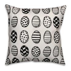 Black and White Egg Pattern 16x16 Throw Pillow