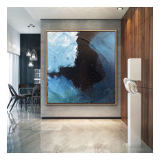 60x60 IN Black blue gray abstract Art Large Modern Painting MADE TO ORDER