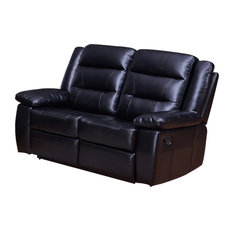 Betsy Furniture Bonded Leather Reclining Loveseat Black