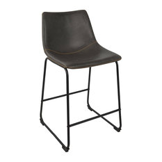 Duke 26-inch Industrial Counter Stool In Black W/Grey Faux Leather - Set Of 2
