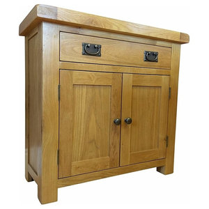 Traditional Sideboard, Oak Finished Wood, 2-Door and Drawer With Metal Handle