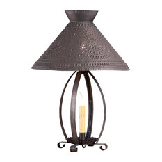 Betsy Ross Lamp With Chisel Shade, Blackened Tin