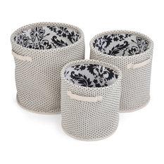 Kaleem 3-Piece Nesting Storage Basket Set, Natural,Black, White Woven Fabric