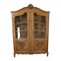 Consigned Bookcase Louis XV French Rococo Vintage 1950 Oak Wood Paned Glass