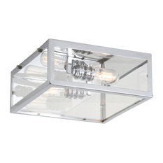 "Grayson 12"" Metal and Glass LED Flush Mount, Chrome, Clear"
