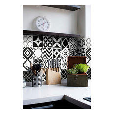 SmartTiles Vintage Bilbao Black and White Peel and Stick Backsplash, Set of 6
