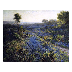 Julian Onderdonk Field of Texas Bluebonnets and Prickly Pear Cacti Wall Decal