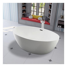 "Vanity Art 55"" Freestanding Acrylic Soaking Bathtub"