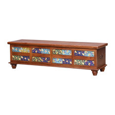 Frederica Mosaic Tile Colorful Reclaimed Wood Storage Trunk