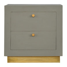 2-Drawer, Sleek Cement Bedside with Gold Detailing