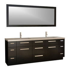 "Design Element J84-DS Moscony 84"" Double Sink Vanity Set, Espresso"
