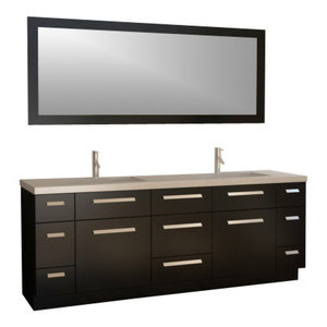 "Design Element J84-DS Moscony 84"" Double Sink Vanity Set, Espresso"