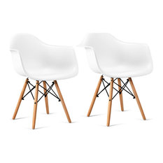 Costway Set Of 2 Mid Century Modern Dining Arm Side Chair Wood Legs White New