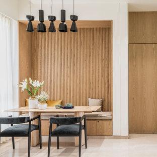 Idéer för funkis matplatser, med vita väggar och beiget golv