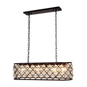 1215 Madison Collection Pendant Lamp, 40''x15'', Polished Nickel/Clear, Mocha Br