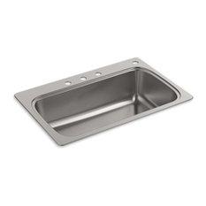 "Kohler Verse 33"" X 22"" X 9"" Top-Mount Single-Bowl Kitchen Sink w/ 4 Faucet Holes"