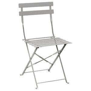 Folding Cafe Chair, Light Grey, Set of 2