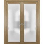SARTODOORS - Modern Solid French Double Doors 72x84 | Planum 2102 Honey Ash - SartoDoors - the european doors of modern minimal design.