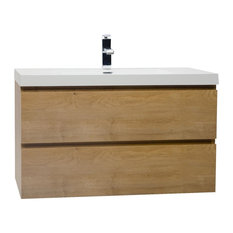 "Angela 35.5"" Wall-Mount Bathroom Vanity, Natural Oak"