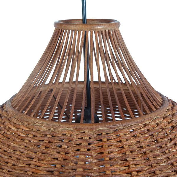Handwoven Wicker Pear Pendant Lamp, Diameter 18 x 15 inch, Rustic Brown