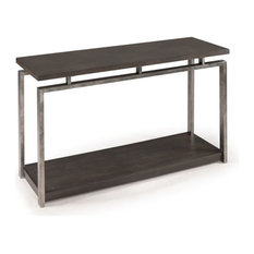 Magnussen Alton Metal Console Table in Platinum Charcoal and Gun Metal