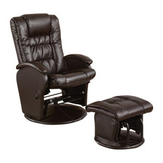 2-Piece Glider Chair With Ottoman Set, Brown