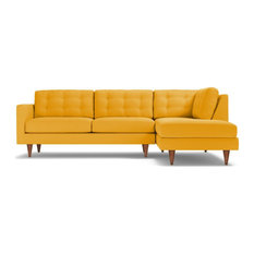 Logan 2-Piece Sectional Sofa, Marigold Velvet, Chaise on Right
