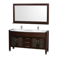 "Daytona 60"" Double Bathroom Vanity, Integrated Sink, and 60"" Mirror,"