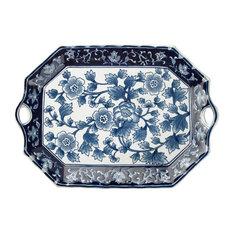 "Blue and White 18"" Platter"
