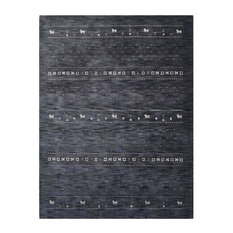 Rugsotic Carpets Hand Knotted Loom Wool 9'x12' Area Rug, Charcoal