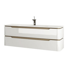 Strato 2-Drawer Washbasin Unit With Glass Countertop, Glossy White