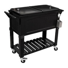 permasteel 80 qt antique rolling patio cooler black coolers and ice chests