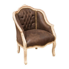 Louis XVI Wraparound Armchair, Brown Alcantara Fabric