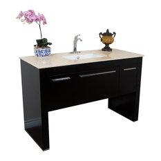 """Bellaterra 55.3"""" Single Sink Vanity, Black-Cream Marble"""