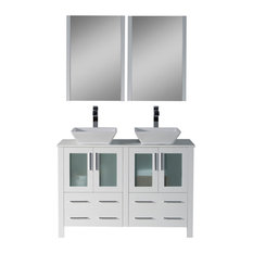 "Sydney 48"" Double Vanity Set With Vessel Sinks and Mirrors, Glossy White"