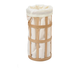 Coppice - Cage Laundry Basket, Natural Oak, With White Bag - Laundry Baskets